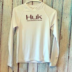 HUK fishing performance shirt youth white medium